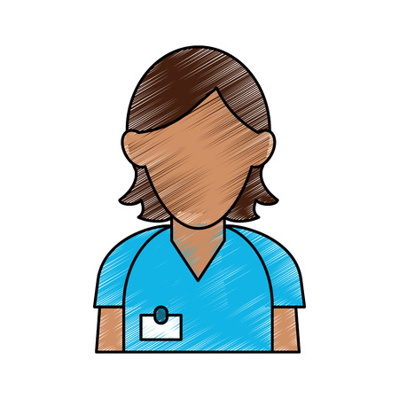 group therapy: Colorful woman in uniform avatar doodle over white background vector illustration Illustration