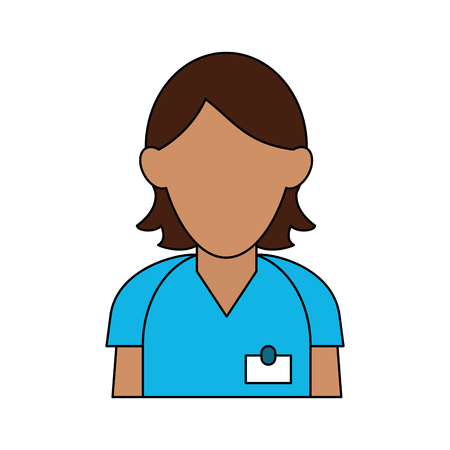 group therapy: Colorful woman in uniform avatar over white background vector illustration