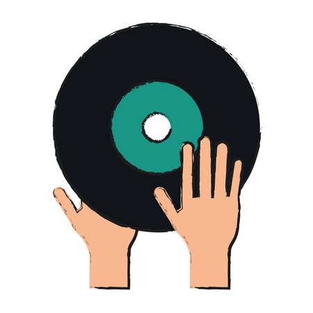 Turntable music hand draw  vector illustration design graphic