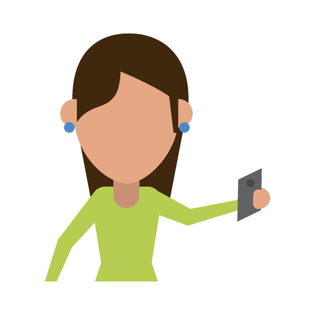 woman cellphone: woman using cellphone avatar icon image vector illustration design