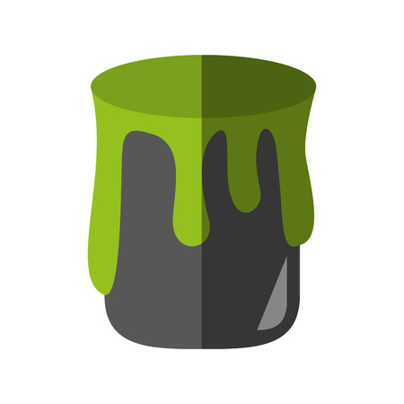 dripping green paint can icon image vector illustration design