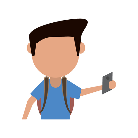 man wearing backpack using cellphone avatar icon image vector illustration design Illustration