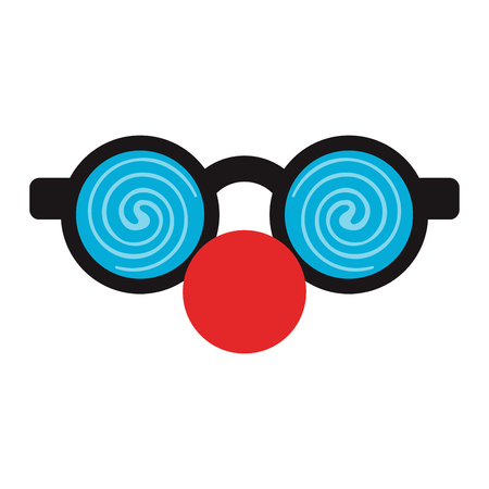 fake nose and glasses: crazy glasses with round nose funny or joke item icon image vector illustration design Illustration