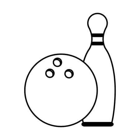 recreational pursuit: bowling pins and ball icon image vector illustration design  black and white