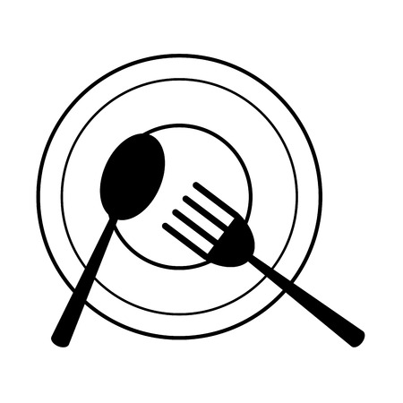 prepare: plate with fork and spoon icon image vector illustration design  black and white Illustration