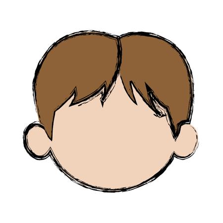 default little face boy cute child vector illustration