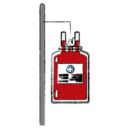 salvavidas: bag blood hanging trasnfusion donation vector illustration