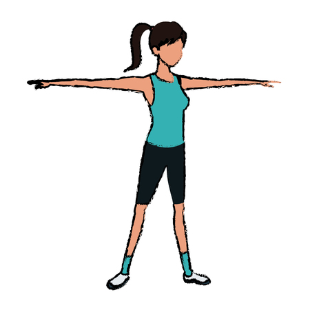 sport girl open arms athletic fitness image vector illustration