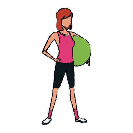 sport girl fitball athletic image vector illustration Stock Vector - 81143313