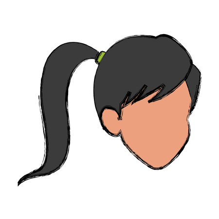 face girl ponytail comic image vector illustration Illustration