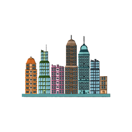 skyscrapers buildings towers city business architecture apartment and office urban landscape vector illustration Illustration
