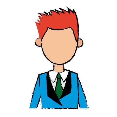 business man portrait character wear suit and tie vector illustration