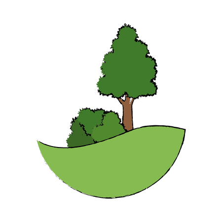 tree natual bush grass land forest vector illustration Illustration