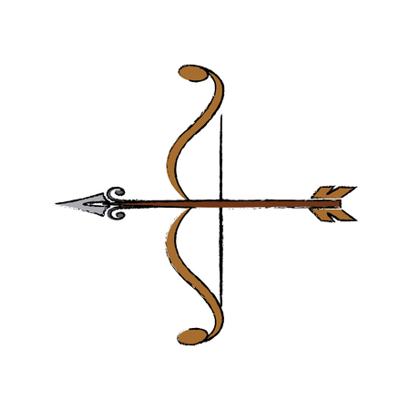 bow and arrow vintage ancient weapon object element vector illustration Illustration