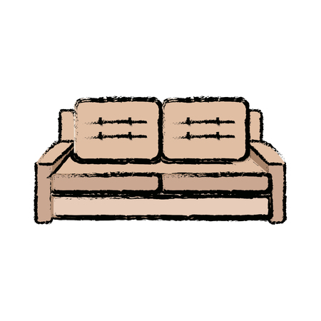 sofa furniture comfort seat pillow decoration vector illustration