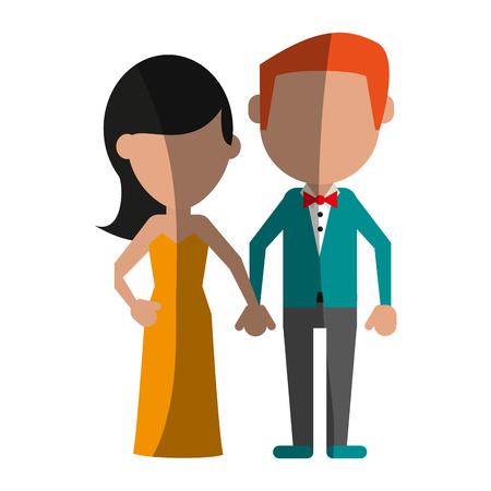 Happy couple relationship shadow vector illustration design graphic