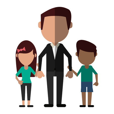 having fun: Happy family united shadow vector illustration design graphic