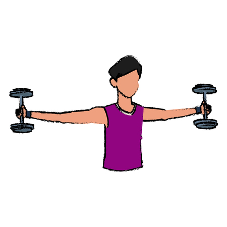 sport man biceps training with dumbbell vector illustration
