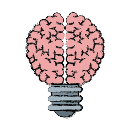 Bulb brain idea creativity knowledge vector illustration