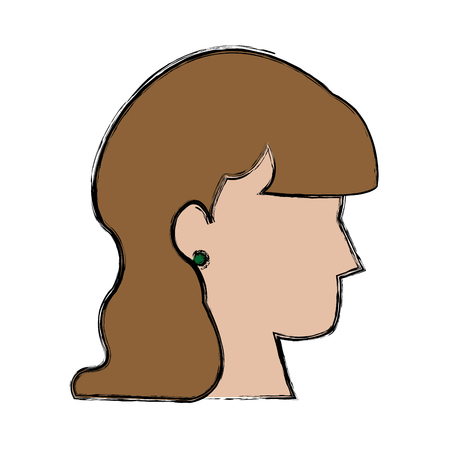 Profile woman avatar female cartoon vector illustration