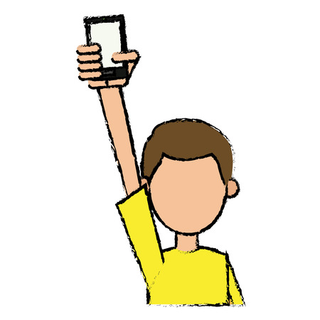 using smart phone: A guy young holding smartphone with hand up vector illustration.