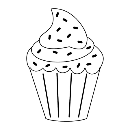 rolling pin: cupcake with sprinkles icon image vector illustration design black and white