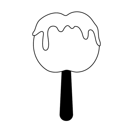 confection: candy apple  icon image vector illustration design black and white