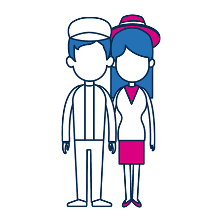 standing people couple holding hands with blue hair vector illustration Illustration
