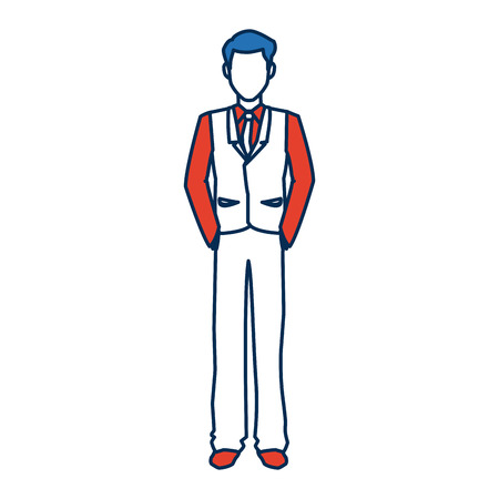 super man: business man character person in blue and orange avatar vector illustration