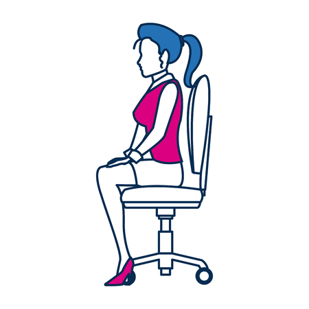 business woman person sitting office chair in blue and fuchsia character vector illustration