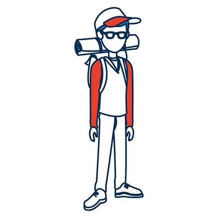 smart man: character guy young traveler standing person vector illustration Illustration