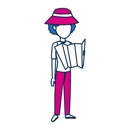 short trip: woman character traveler people cartoon vector illustration Illustration