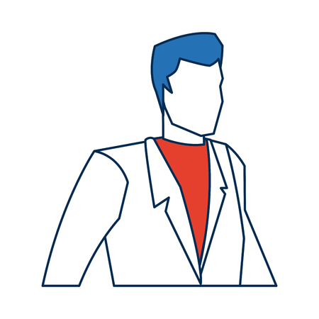 oldman: business man character person in blue and orange avatar vector illustration