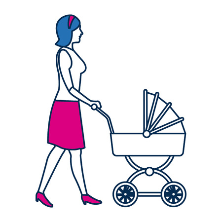 walking mother with baby carriage isolated on white vector illustration Illustration