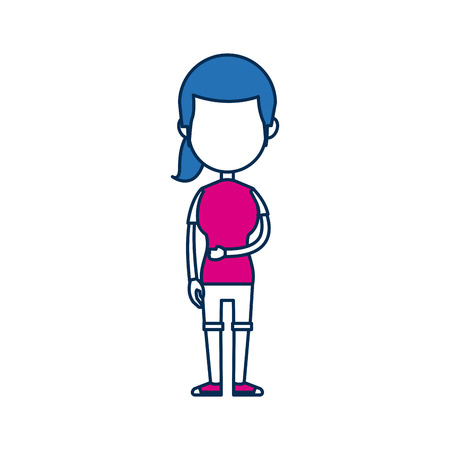 teenager girl school people cartoon in blue and fuchsia image vector illustration