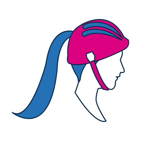 personage: profile sport woman avatar with blue hair image vector ilustration Illustration