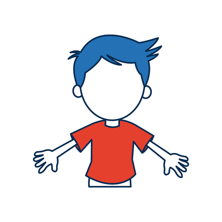 boy cartoon student in blue and orange avatar vector illustration