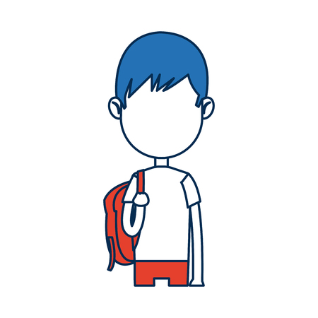 and delighted: teenager boy student cartoon in blue and orange image vector illustration
