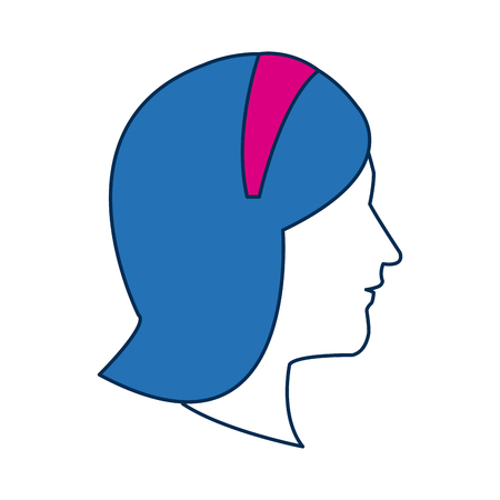 ilustration: profile woman avatar with blue hair image vector ilustration