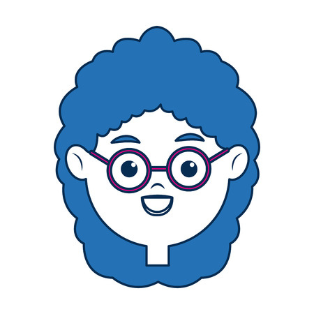 girl wearing glasses: beauty girl face avatar wear glasses and blue hair vector illustration