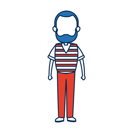 avatar man standing father character in blue and orange vector illustration Illustration