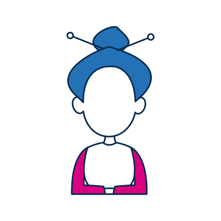 asian woman portrait character face with blue hair vector illustration