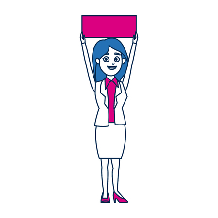 cartoon woman in campaing holding empty board vector illustration Illustration