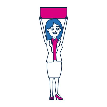 cartoon woman in campaing holding empty board vector illustration Illustration