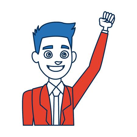 Portret cartoon man jonge draagtas en blauwe haar vector illustratie