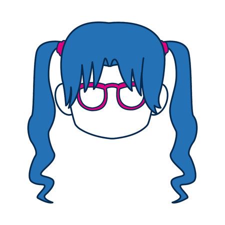 Chibi anime girl cara azul gafas de pelo ilustración vectorial Foto de archivo - 81379019