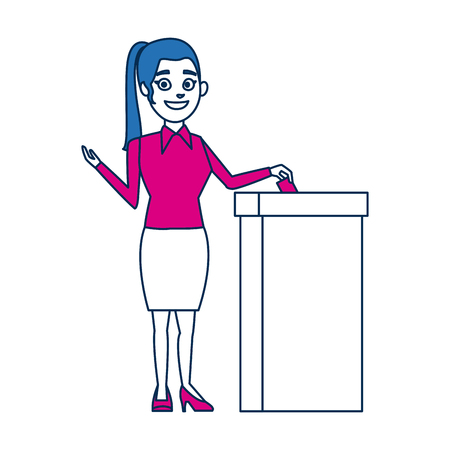 woman casting her vote at the ballot box vector illustration Illustration