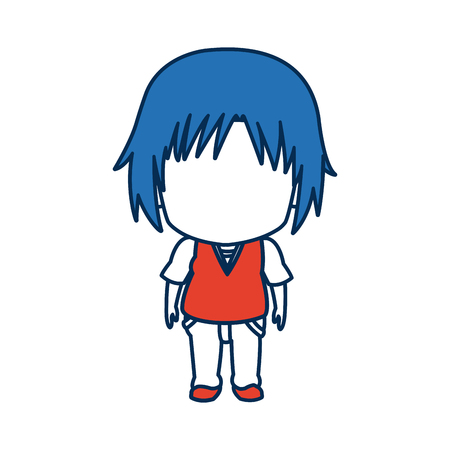 anime young: boy anime male manga cartoon comic blue hair vector illustration Illustration