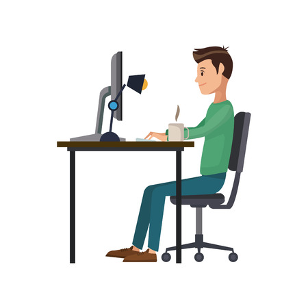 man working sitting in desk computer work space vector illustration