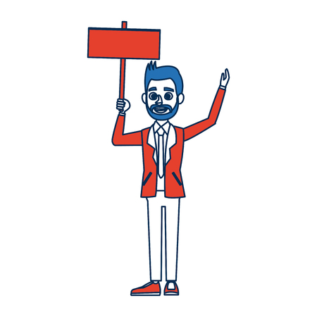 man cartoon holding blank board election concept vector illustration